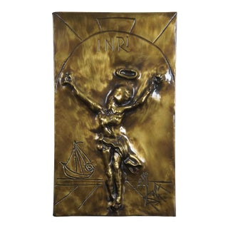 1979 Salvador Dali Christ of Saint John of the Cross Bas Relief Bronze Plaque For Sale