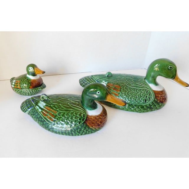 Vintage Green Majolica Mallard Duck Covered Condiment Dishes- Set of 3 For Sale - Image 12 of 13
