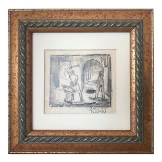 Vintage Expressionist Drawing of a Blacksmith by Harold Davies For Sale
