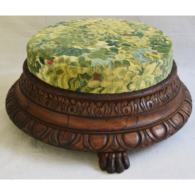 Fabric Early Carved 1900s Foot Stool w/ Scalamandre Marly Velvet Fabric For Sale - Image 7 of 11