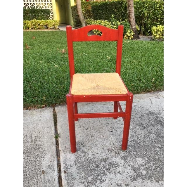 1970s 1970s Vintage Red Wood Chair For Sale - Image 5 of 5
