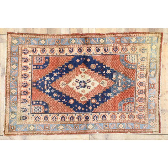 Contemporary 20th Century British Colonial Persian Hamadan Rug For Sale - Image 3 of 6
