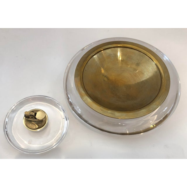 Mid-Century Set of Lucite & Brass Catchall & Lighter For Sale - Image 13 of 13