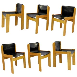 Set of Six Italian Leather Sling Chairs by Ibisco, 1970s For Sale