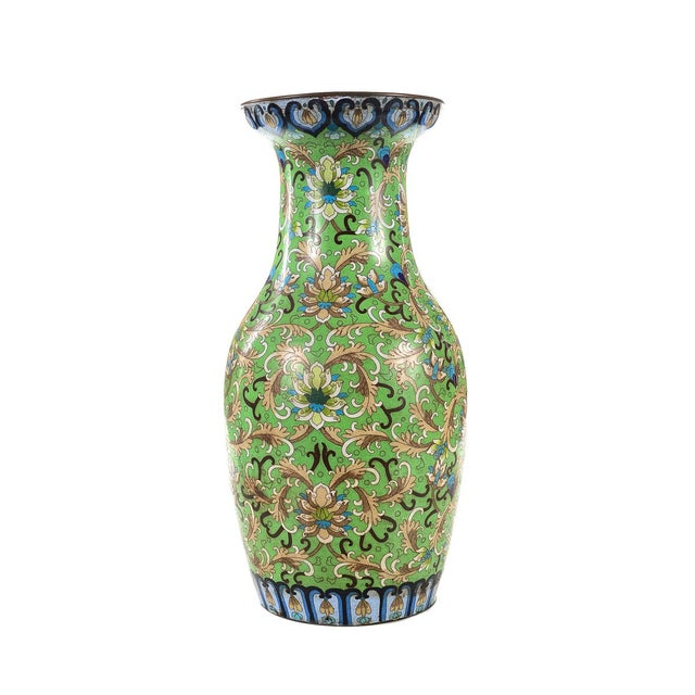 Green Antique Chinese Green Cloisonné Vases - a Pair For Sale - Image 8 of 9