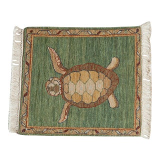 "Vintage Pictorial Armenian Turtle Design Square Rug Mat - 1'10"" X 2' For Sale"