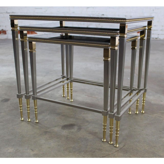Glass top brass stainless steel nesting tables set of 3 for Glass top nesting tables