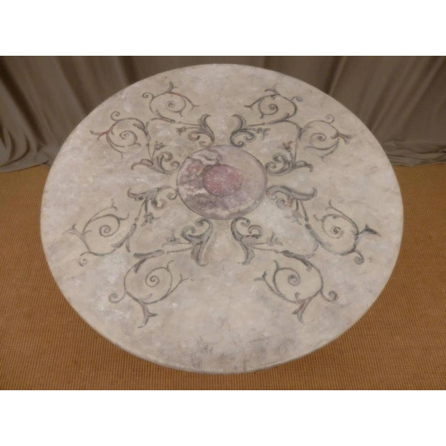 Contemporary Italian Provincial Faux Marble Top Table on Iron Base For Sale - Image 3 of 9