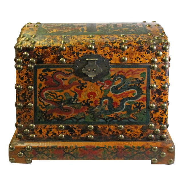 Red Chinese Distressed Yellow Red Dragon Graphic Trunk Box Chest For Sale - Image 8 of 9