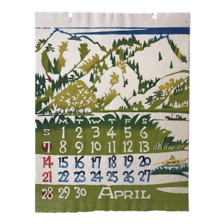 Mid Century Japanese Calendar Print April For Sale