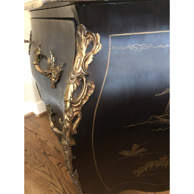 Chinoiserie Early 20th C. Chinoisere Marbletop Louis XV Commode For Sale - Image 3 of 11