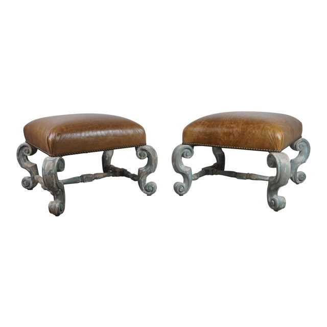 Pair of French Painted Benches With Leather Upholstery For Sale