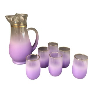 Vintage Blendo Mid Century Purple Decanter & Glasses Set - 7 Pieces For Sale