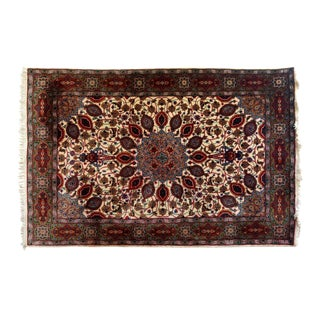 """Persian Red & Ivory Floral Motif Wool Rug -3'3""""x5'1"""" For Sale"""