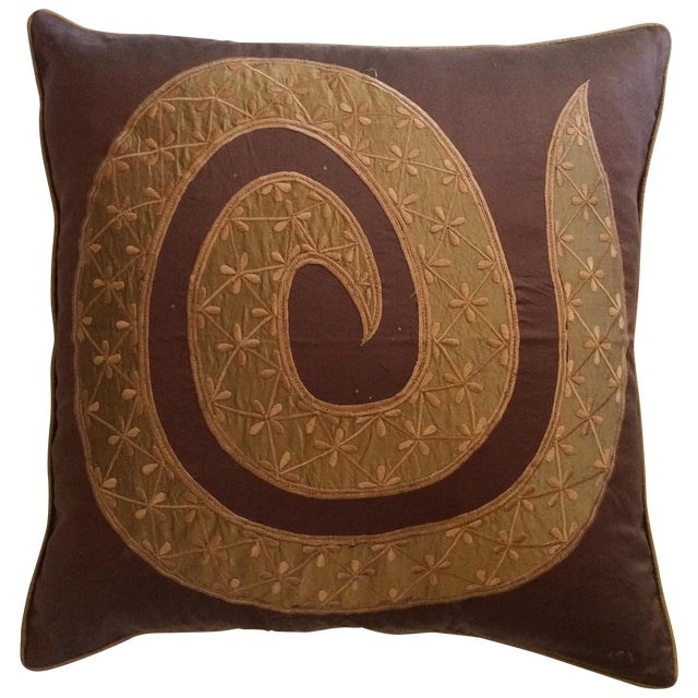 Chocolate & Gold Silk Pillow Cover - Image 1 of 3
