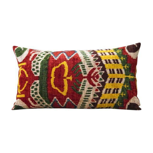 Multi-Colored Silk Velvet Ikat Pillow - Image 1 of 3