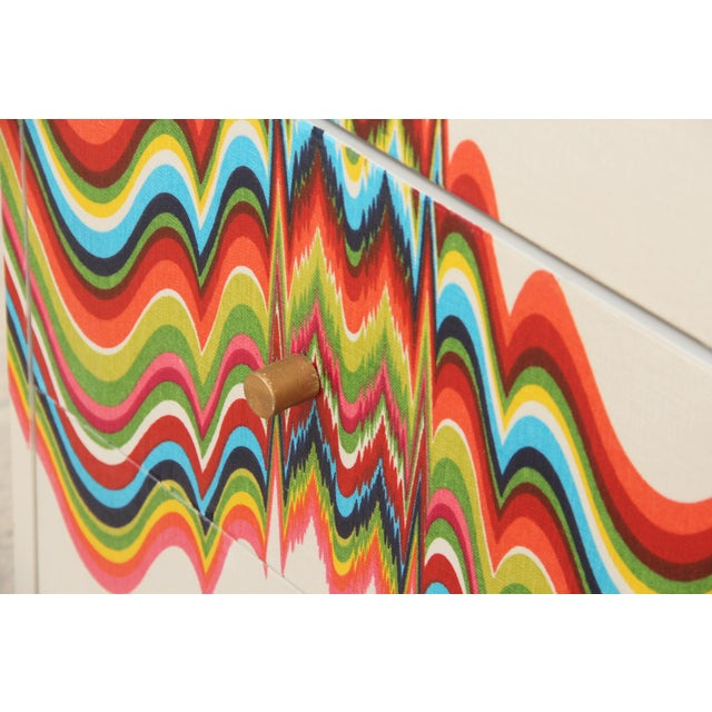 1960s Boho Chic Dresser Wrapped in Technicolor Fabric For Sale In Tampa - Image 6 of 8