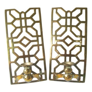 Brass Chinoiserie Fretwork Wall Sconces - a Pair For Sale