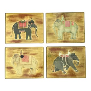 Glass Mats With Asian Elephant Motif - Set of Four For Sale