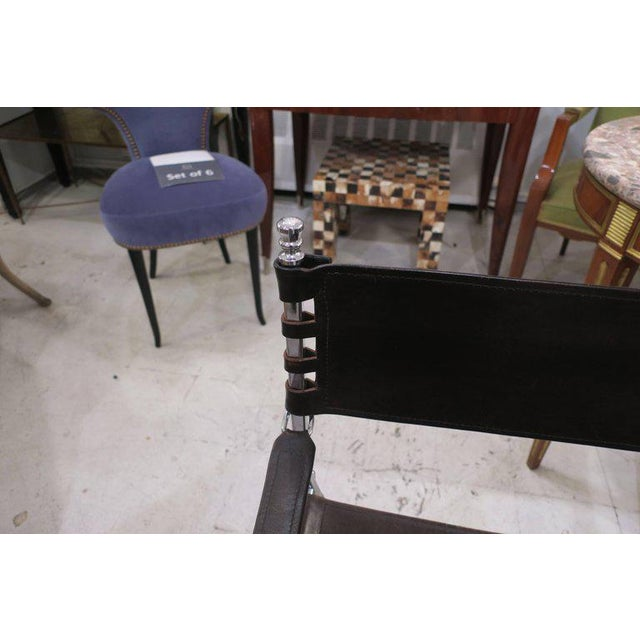 Silver Pair of Chrome and Leather Directors Chairs Attributed to Maison Jansen For Sale - Image 8 of 10