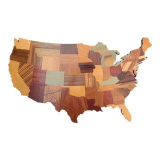 United States Marquetry Map For Sale