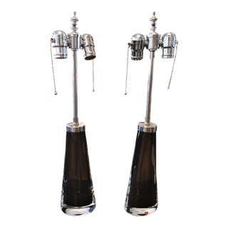 Orrefors Modernist Black Glass Table Lamps by Carl Fagerlund - a Pair For Sale
