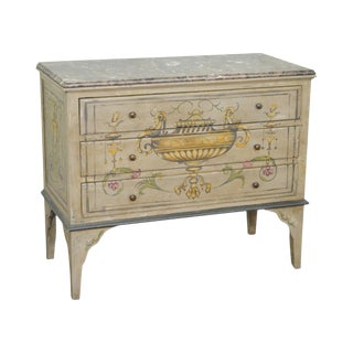 Adams Style Hand Painted Marble Top Chest of Drawers For Sale