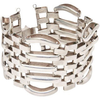 Sterling Silver Modernist Sculptural Cuff Bracelet For Sale