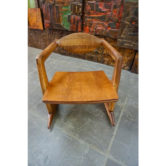 1970s Hand Crafted Walnut Rocking Chair For Sale - Image 5 of 7