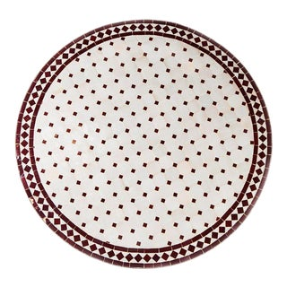 Large Moroccan Mosaic Tile Table in Maroon