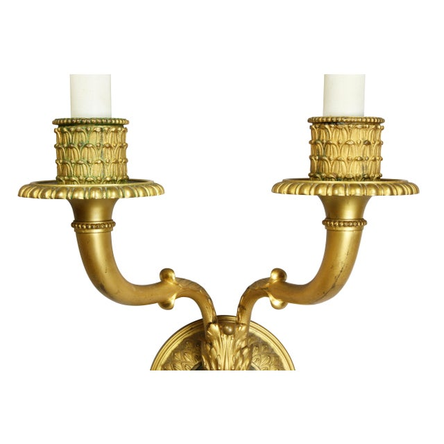 1900 - 1909 Neoclassic Style Gilt Bronze Wall Lights - a Pair For Sale - Image 5 of 7