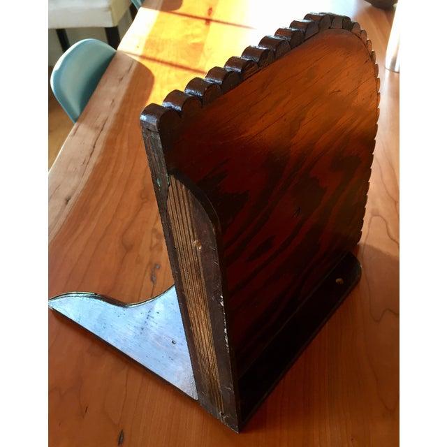 Brown Scalloped-Edge Corner Shelf For Sale - Image 8 of 10