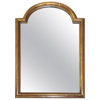1940s Vintage French Louis Philippe Style Arch Top Gilt Wood Wall Mirror For Sale