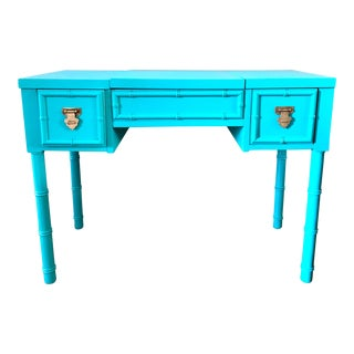 Shangri La Lacquered Bamboo Vanity/Desk For Sale