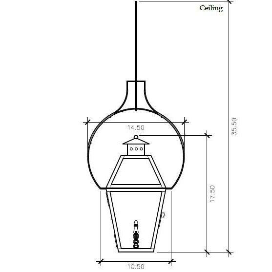American Lantern & Scroll Charleston Hanging Yoke Lantern, Bronze For Sale - Image 3 of 4