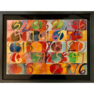 Numbers Modern Watercolor Painting For Sale