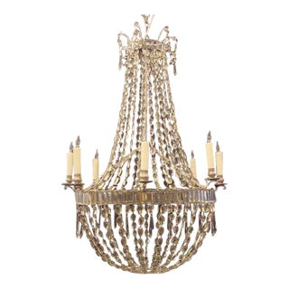 18th C English Regency Crystal Basket Chandelier