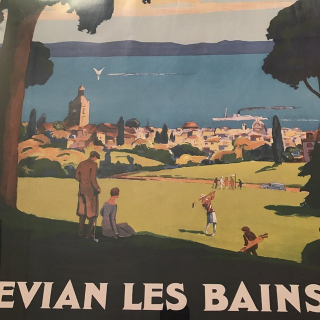 "Late 20th Century Framed ""Evian Les Bains"" Tourism Advertisement For Sale - Image 5 of 7"
