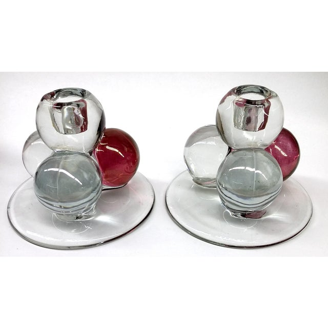 MCM Westmoreland Glass Ball Candle Holders - 2 For Sale In Portland, ME - Image 6 of 8