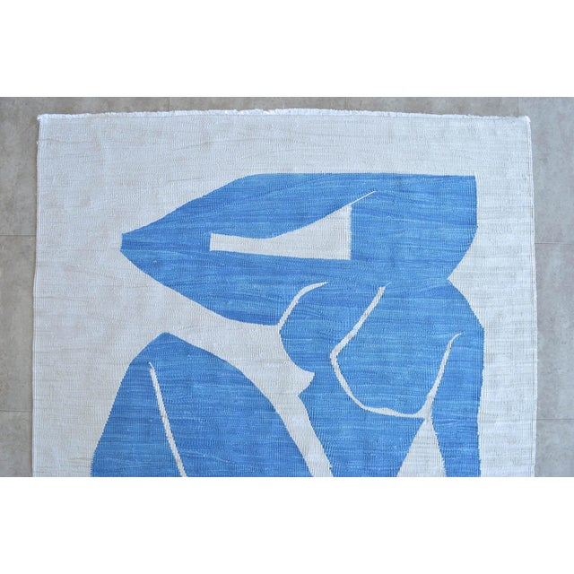 Silk Henri Matisse - Blue Nude 3 - Inspired Silk Hand Woven Rug Flat Weave Area - Wall Rug 4′8″ × 7′ For Sale - Image 7 of 10