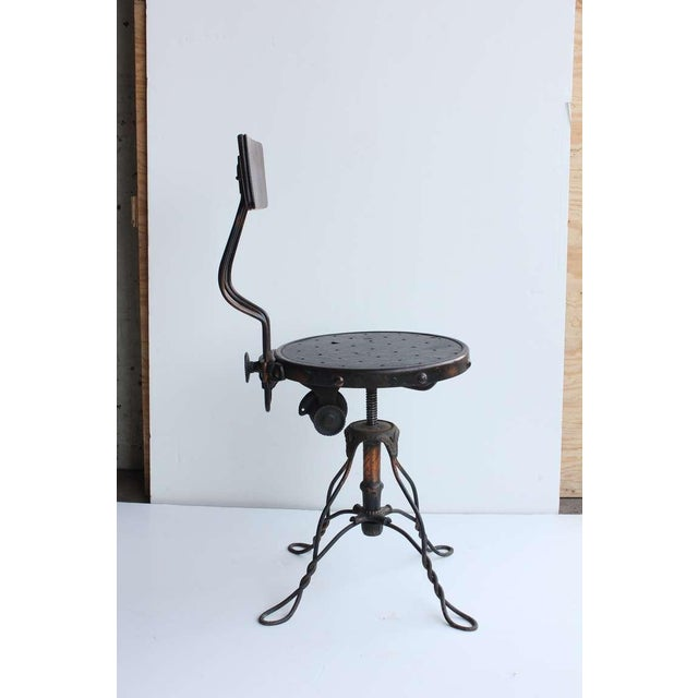 Industrial Antique Copper Swivel Desk Chair For Sale - Image 3 of 6