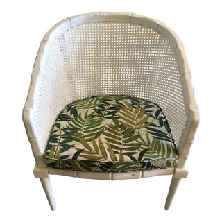 Vintage Faux Bamboo Cane Barrel Back Chair For Sale