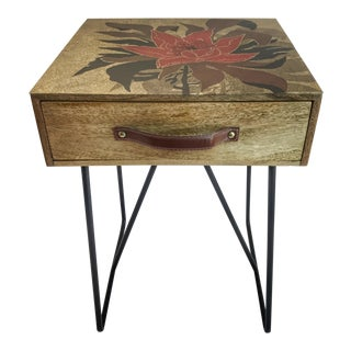 "1990s Asian Decoupage Cole & Son ""Irise Flower"" Nightstand For Sale"