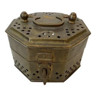 Vintage Octagonal Brass Indian Pakistani Cricket Trinket Potpourri Box For Sale