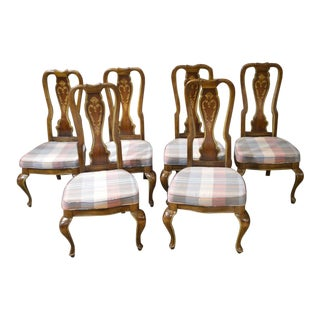 1960s Vintage European Style Queen Anne Dining Chairs - Set of 6 For Sale