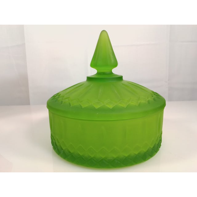 Indiana Glass Green Satin Candy Dish - Image 2 of 10