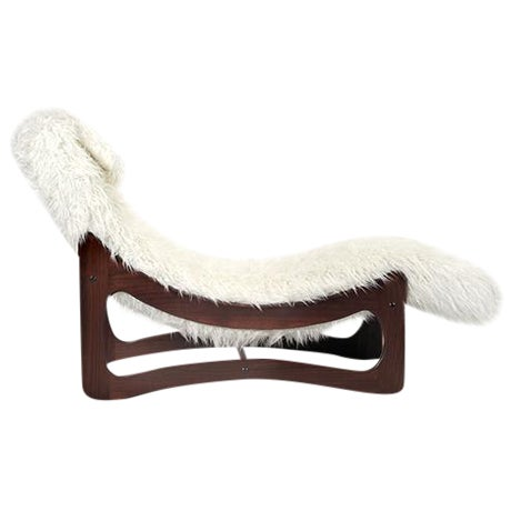 White Mongolian Faux Fur Chaise Lounge - Image 1 of 6