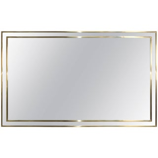 1970s Modern Italian Chrome and Brass Mirror For Sale