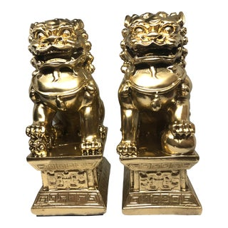 Chinoiserie Golden Foo Dogs - a Pair For Sale