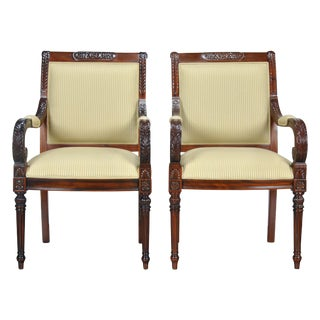 Carved Empire Upholstered Arm Chair - a Pair For Sale
